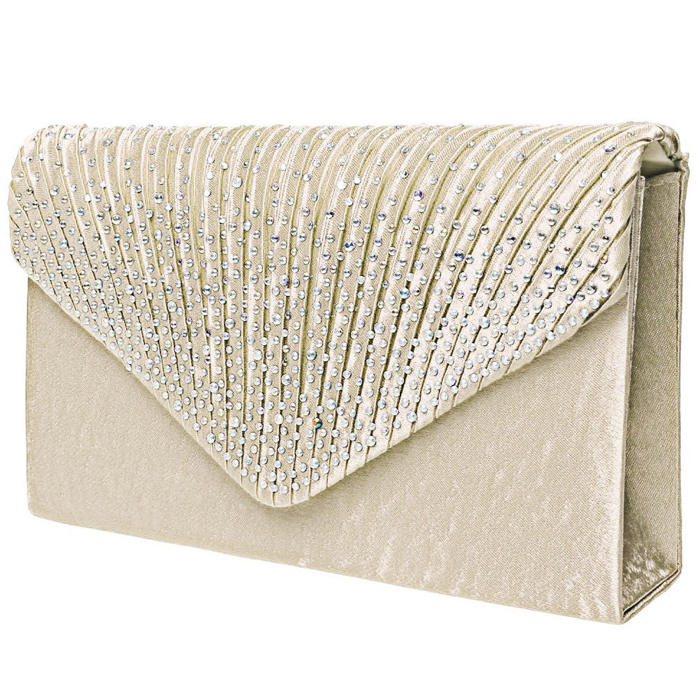Fashion Road Women Satin Clutch, Rhinestone Evening Clutch, Envelope Clutch Purse, Pleated Flap Handbag for Wedding, Party and Prom Apricot by FASHIONROAD (Image #3)