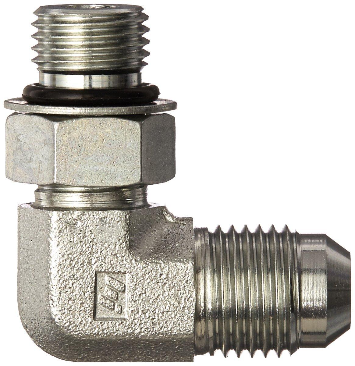 3//4 Tube OD JIC Male x 1-5//16-12 Male Straight Thread O-Ring Boss Brennan 6801-12-16-NWO-FG Forged Steel JIC Flared Tube Fitting 90 Degree Elbow