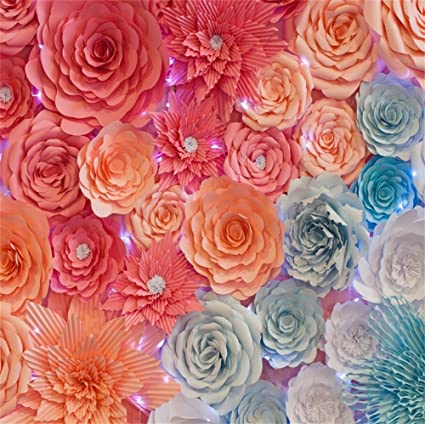 Amazon Lfeey 5x5ft Polyester Pink Paper Flowers For Baby