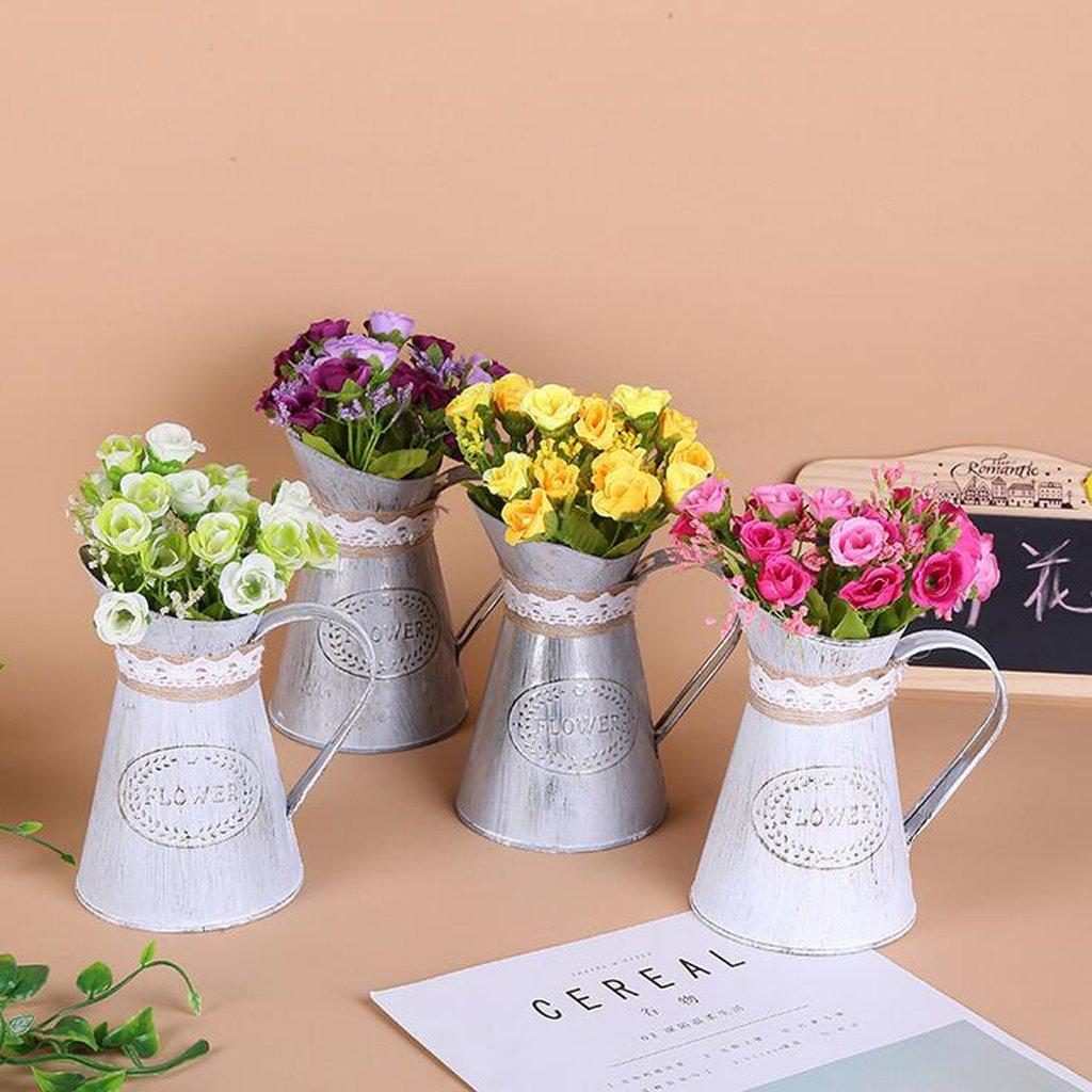 Gris 10pcs B Blesiya Vase /à Fleurs Chic M/étal Pichet Porte-Fleurs Arrosoir en m/étal D/écoration Int/érieure