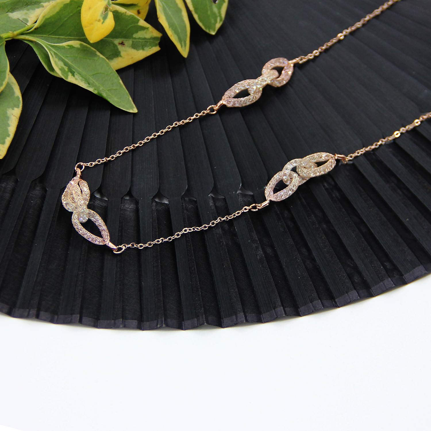 KUNGYO Station Necklace Chain Pendant Necklace Jewelry for Women Girls
