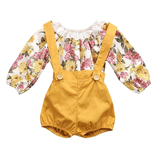 3336894cff2 Baby Girls Infant Outfit Floral Suspenders Pant Set Long Sleeve Romper +  Short Overalls (Yellow
