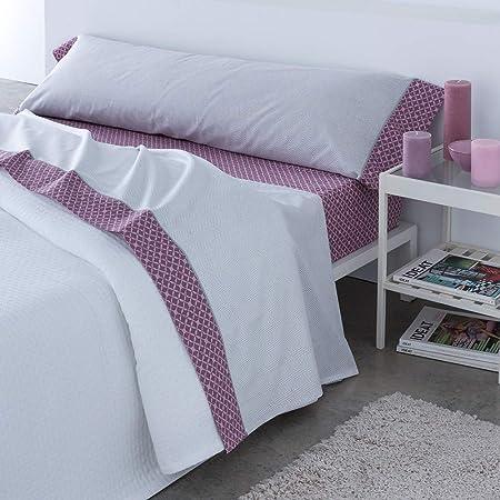 Barceló Hogar 03060150223 Juego de sábanas, modelo Ares, algodón 100%, malva, 90 cm: Amazon.es: Hogar