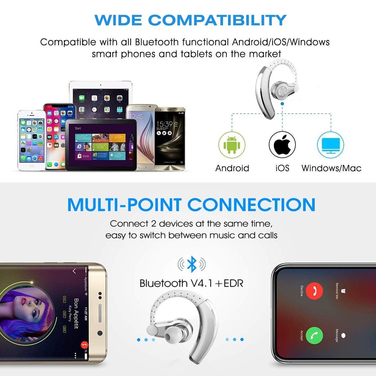 PONYBRO Wireless Headset,Lightweight&Comfortable,HD Sound Wireless Earbuds with Mic,8-Hours Playtime Cell Phone Earpiece,Hands Free Wireless Headphones for Cell Phones,PC,Tablet. Silvery