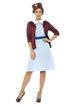 SmiffyS 42796S Disfraz Tradicional De Enfermera Con Vestido Chaqueta De Punto Con Cinturón, Azul,