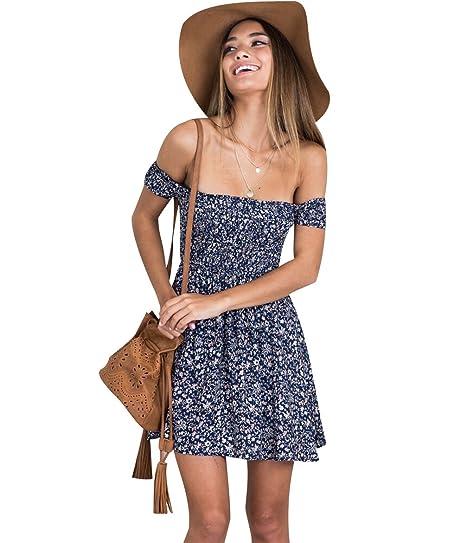29c19c17466f ISSHE Summer Bandeau Off The Shoulder Dresses Floral Sundress Beach Holiday  Dresses Mini Day Shift Dress Short Boho Chiffon Dress Party Casual Loose ...