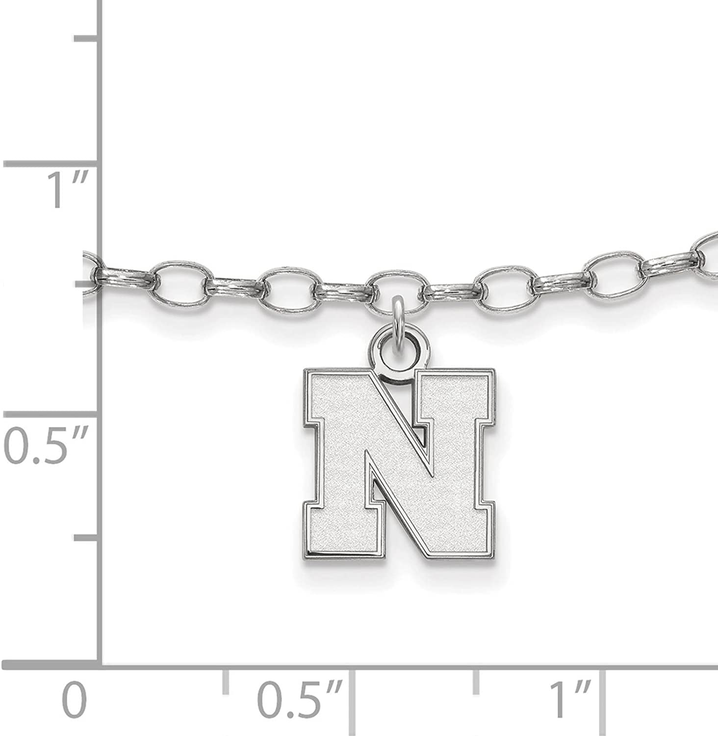 Collegiate University of Kansas Sterling Silver LogoArt University of Kansas Anklet