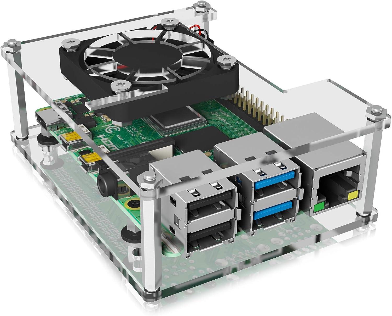 Icy Box Raspberry Pi 4 - Carcasa con Ventilador, Transparente y ...