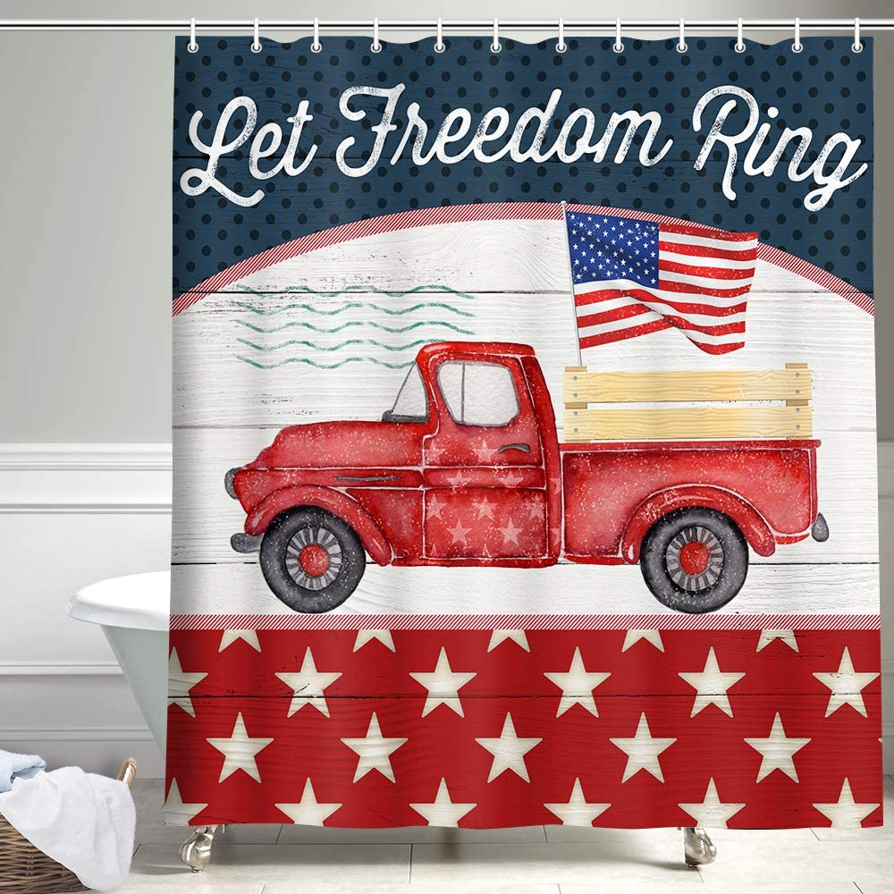 Vintage Red Truck Shower Curtain, Farmhouse Red Truck Pull Patriotic Stars and Stripe Flag on Rustic Wooden Bathroom Curtains,American Flag Navy Blue Fabric Shower Curtain for Bathroom, 69X70inch