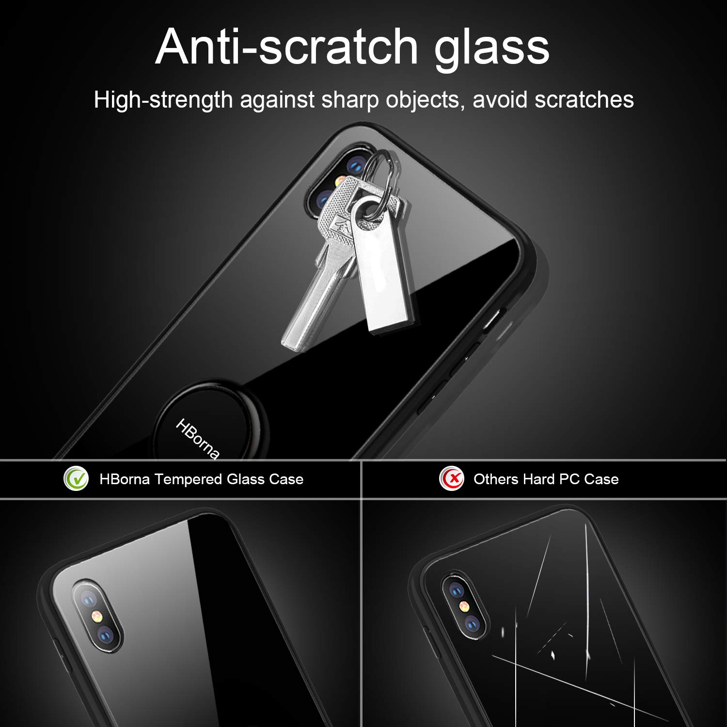 iPhone X Case, Black Anti-scratching Tempered Glass Back Cover Phone Case with Ring Kickstand, TPU Shock-Absorption Frame Protective Phone Case for Apple iPhone X, iPhone 10