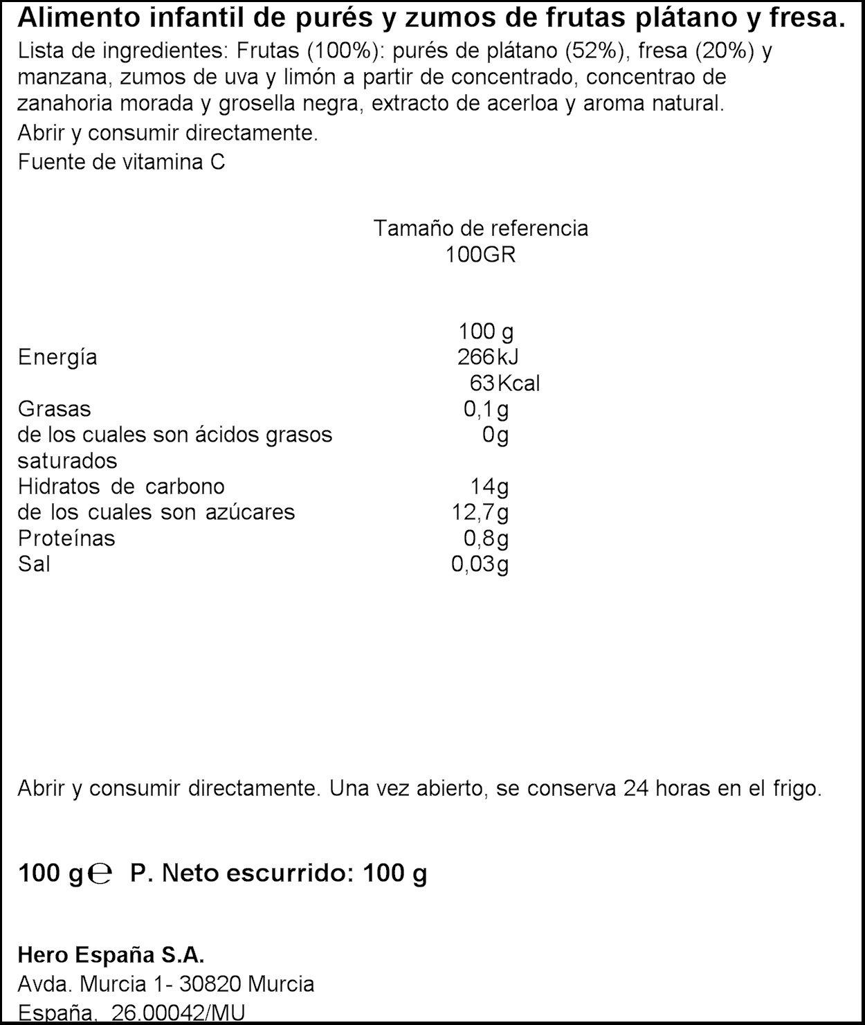 Hero - Bolsita De Fruta Nanos 100 g Plátano Fresa: Amazon.es: Alimentación y bebidas