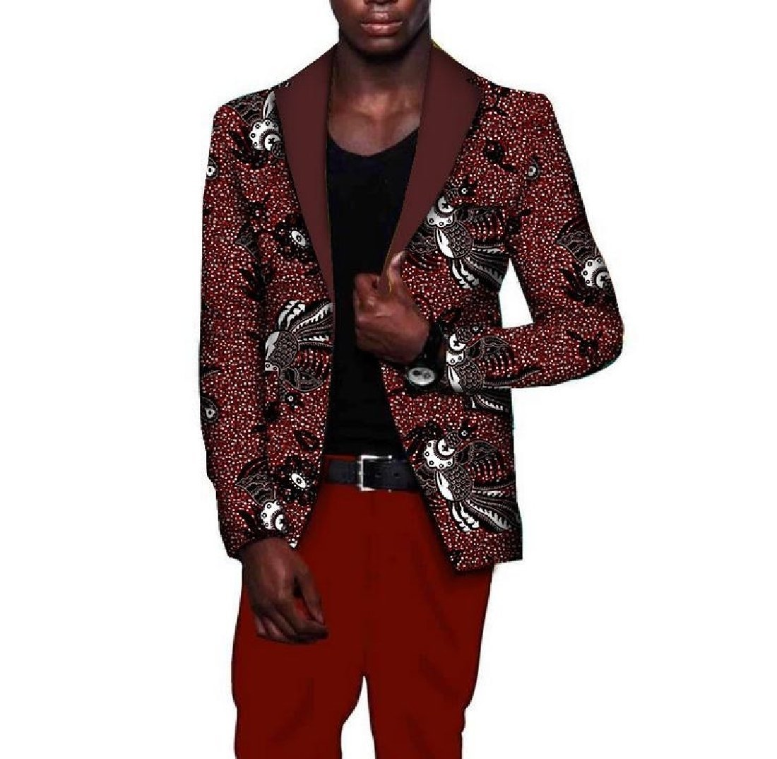 Tootless Men Africa Stylish Coat Plus Size Dashiki Slim Premium Suit Jacket 13 M