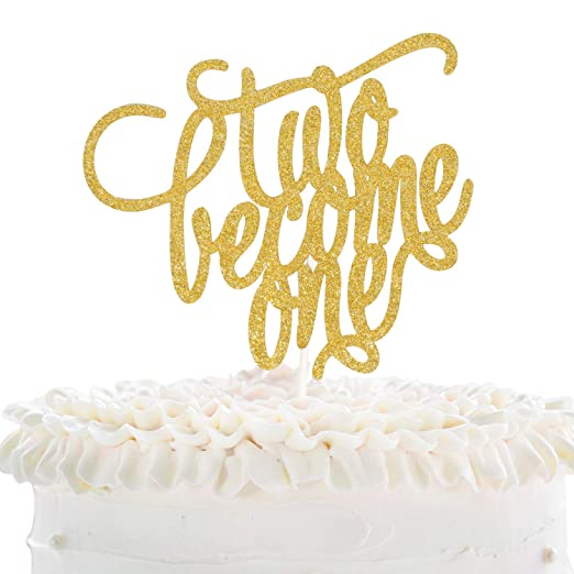 Two Become One Wedding Cake Topper Romantic Wedding Reception Gold Glitter Décor Groom Bridsl Engagement Party Theme Decoration Amazon In Grocery Gourmet Foods