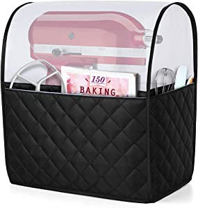 Luxja Dust Cover for 4.5 Quart and 5-Quart KitchenAid Mixers, Cover (Clear Top) with Pockets for KitchenAid Mixers and Extra Accessories, Black Quilted Fabric (Patented Design)