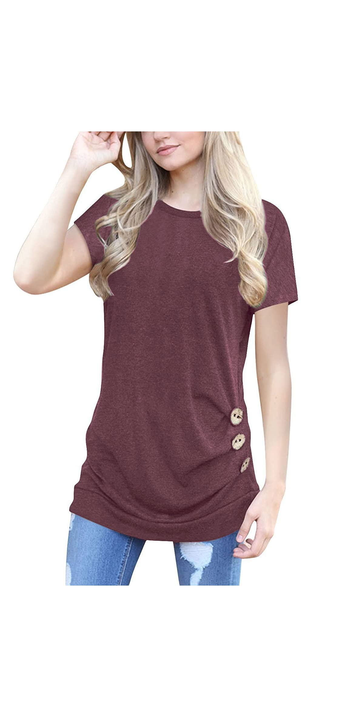 Women's Casual Short Sleeve Round Neck Loose Tunic T
