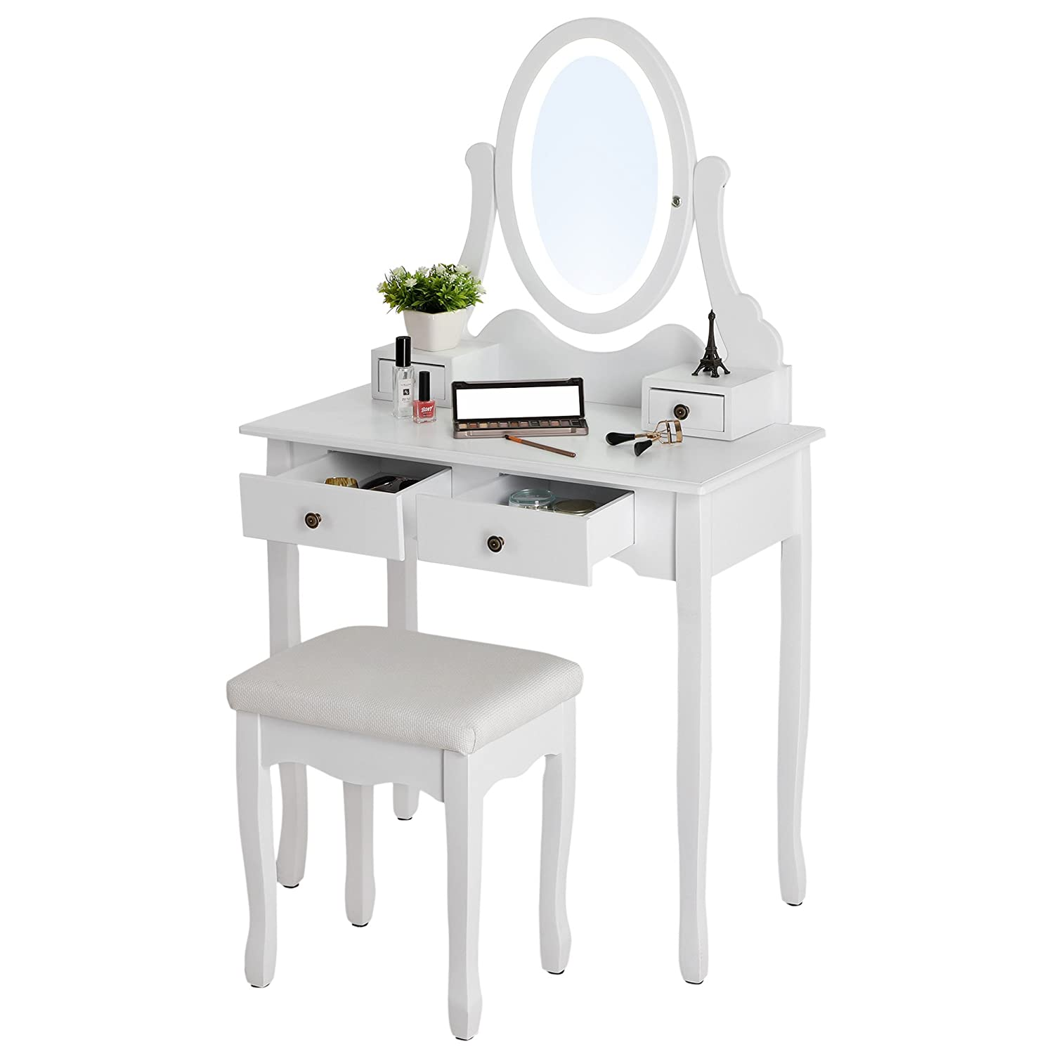 SONGMICS Vanity Table Set With Dimmable LED Lights And Mirror Makeup Dressing  Table With 4 Drawers