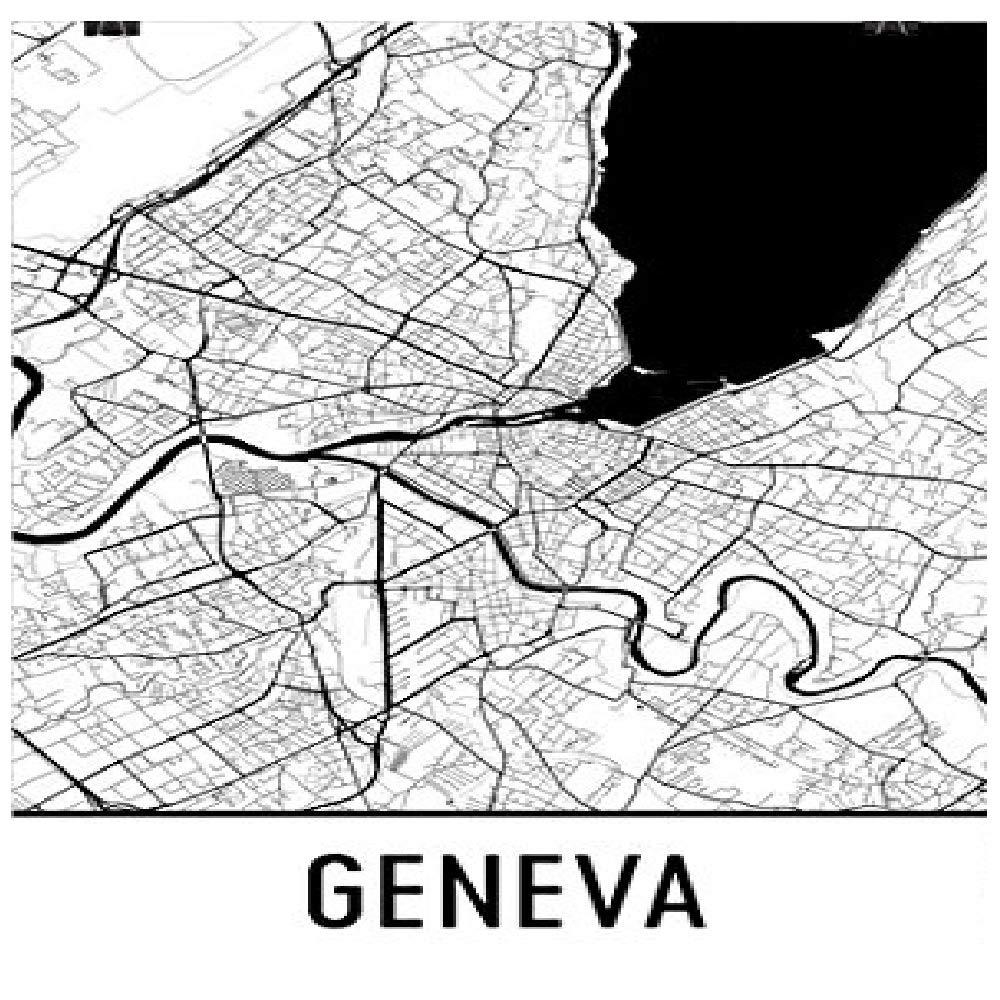 Modern Map Art Arte, Ginebra Ginebra Imprimir Mapa, Cartel ...