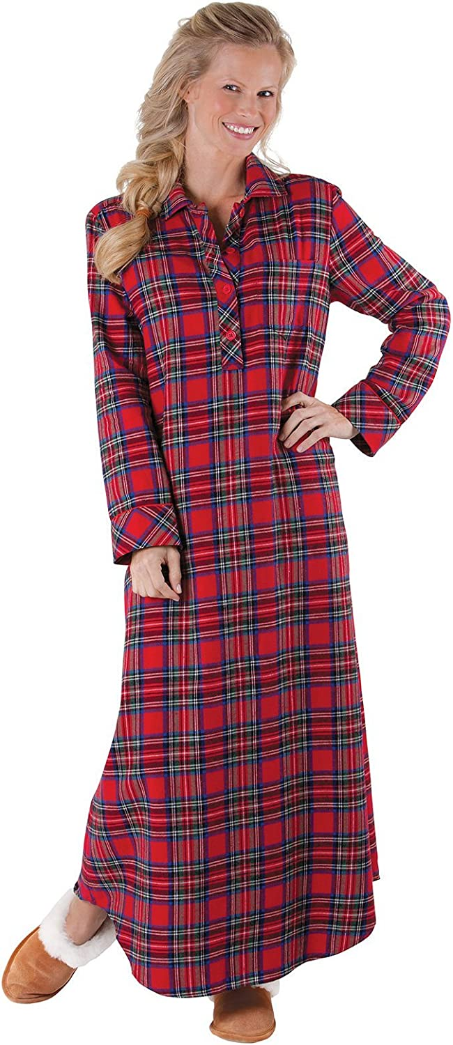 PajamaGram Women's Flannel Nightgown Plaid - Cotton Flannel Nightgown Womens at  Women's Clothing store