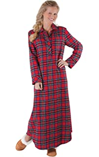 Karomuster klassischer Stil PajamaGram Damen Flanell-Nachthemd