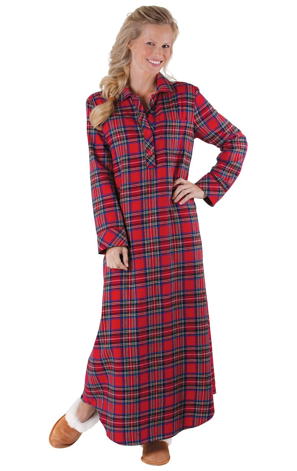 PajamaGram Women's Flannel Nightgown Plaid - Nightgown Womens, Red, L, 12-14 by PajamaGram