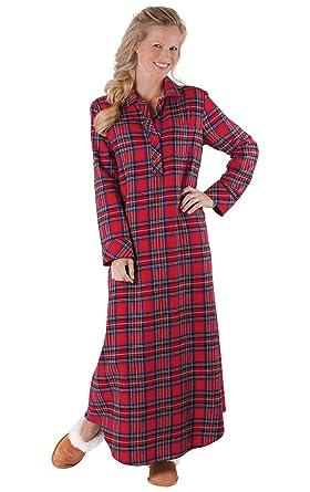 half off 4b82b 336ba PajamaGram - Damen Flanell-Nachthemd - klassischer Stil - Karomuster