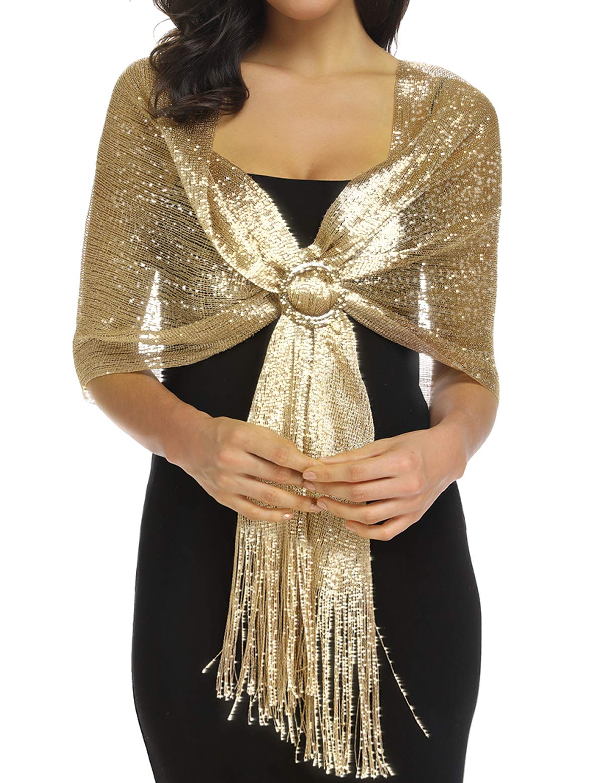 Shawls and Wraps for Evening Dresses Gold by Rheane