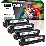 Cool Toner 4-Pack Compatible for HP 312X CF380X CF380A CF381A CF382A Cf383A Toner for HP Color Laserjet Pro MFP M476 M 476 M476DW M476DN M476NW HP312A HP 312A Black Magenta Cyan Yellow Toner