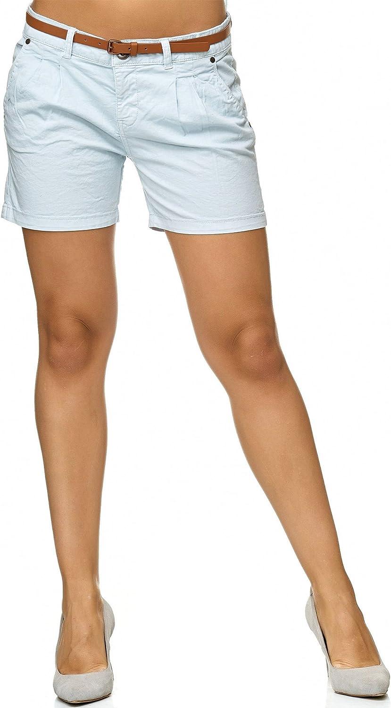 Indicode Femme Damen Lily Shorts mit 4 Taschen aus 98/% Baumwolle Kurze Stretch Hose Regular Fit Sommer-Shorts modische Baumwoll-Shorts Women Short Pants Freizeithose f/ür Frauen