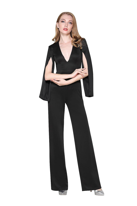 fc8b870fbf1 Amazon.com  Chengyoude Women s Open Sleeve Deep V Neck Jumpsuit Suit Long  Pants for Date