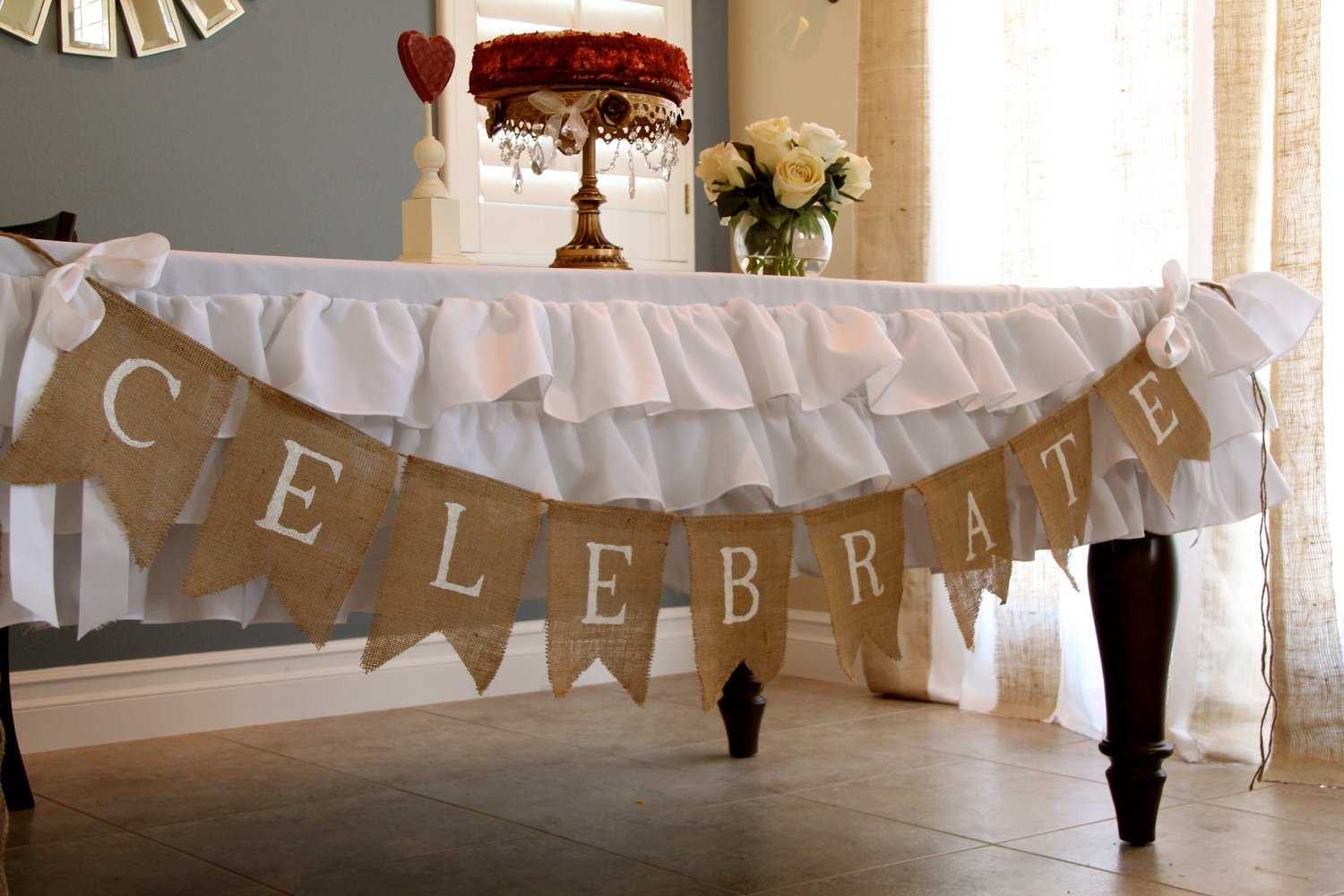 Ever-May Burlap NoFray Table Runner Roll 14 Inches x 25 Yards, 15 Fabric Banner Flags for Placemats, Crafts, Wedding