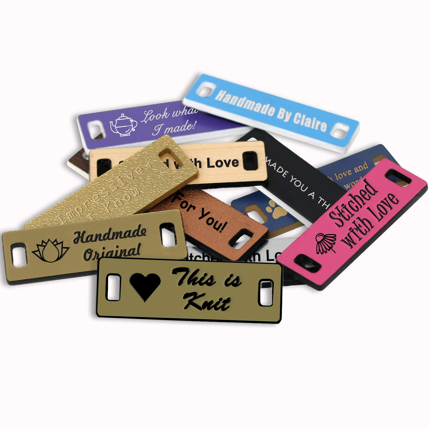 LHS Engraving | Personalized Handmade Tags Custom Engraved Brushed Brass Plastic Sewing & Knitting Notions Black Lettering USA - M6 by LHS Engraving (Image #1)