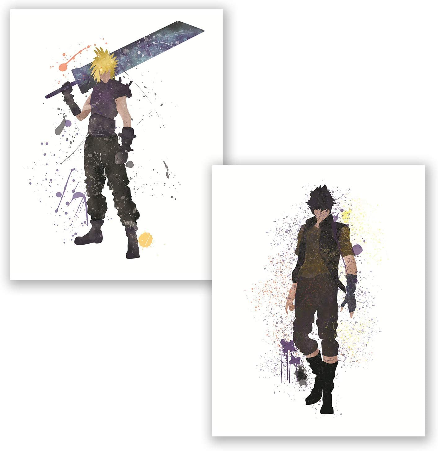 Final Fantasy Poster - Set of 2 Posters - Cloud Strife - Noctis Lucis - Watercolor Inspired Home Art Prints - Bedroom Decor for Gamers (Set, 8x10)