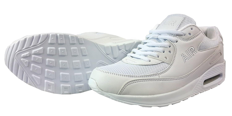 TALLA UK8 / EUR 43. Zapatillas deportivas para hombre, con cordones, estilo casual, textil, Blanco, UK8 / EUR 43