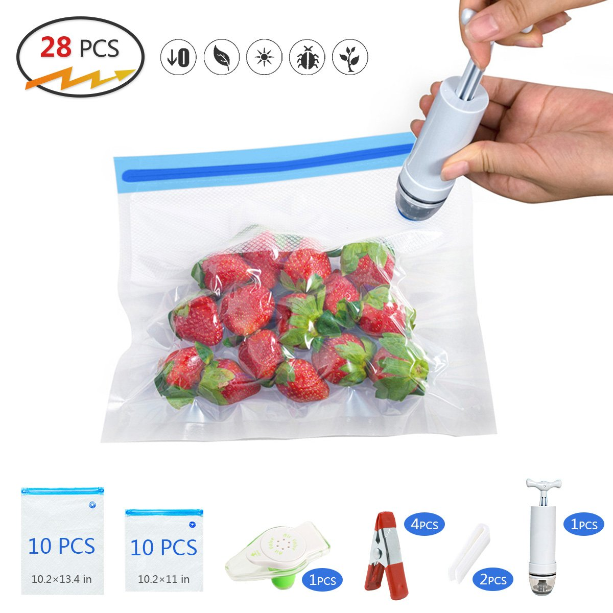 20 Reuseble Food Vacuum Sealed Bags-Sous Vide Bags Kit for Anova Cookers, Sous Vide Cooker Practical for Food Storage and Cooking, 1 Hand Pump, 2 Bag Sealing Clips,1 and 4 Sous Vide Clips, Easy to Use RocDai