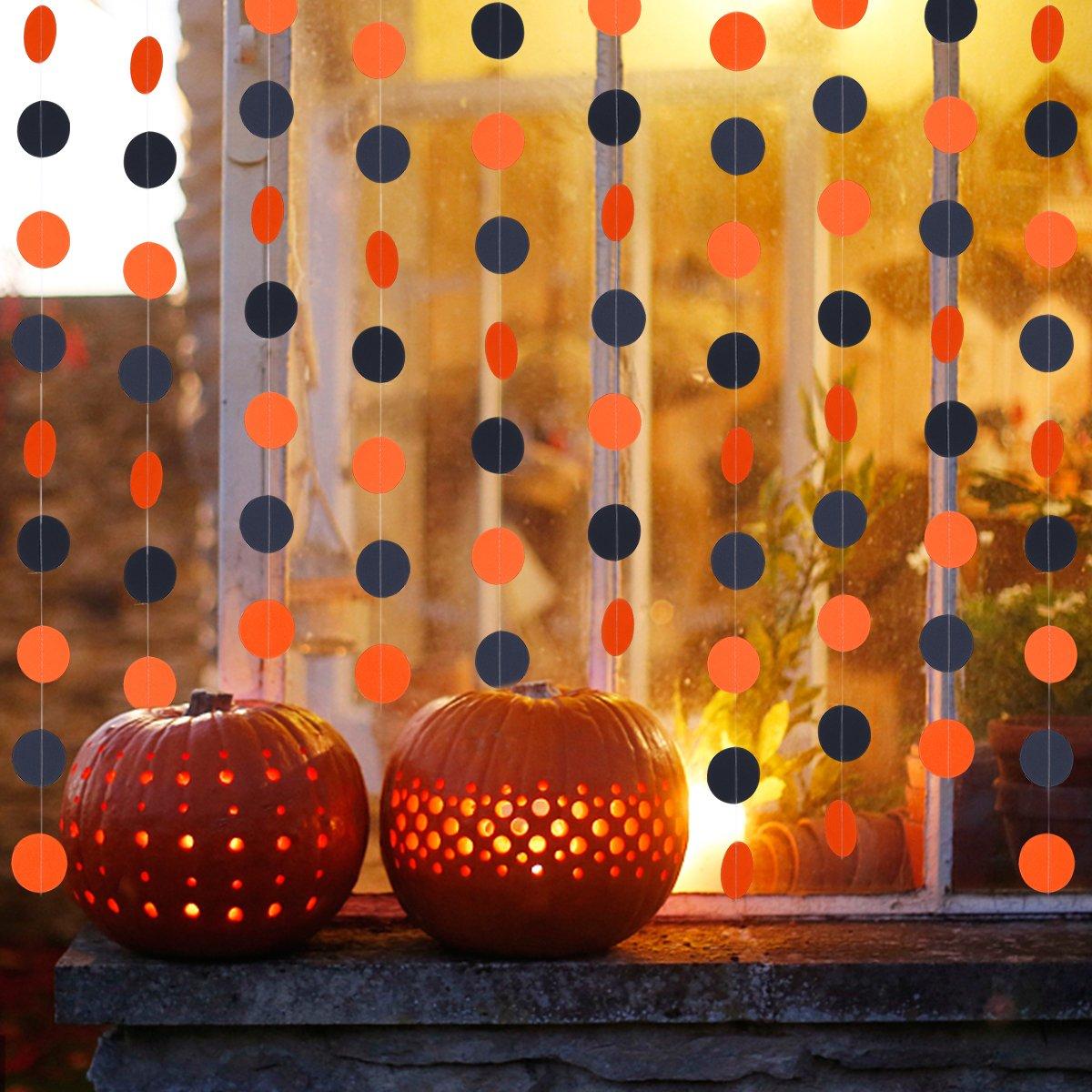 Halloween Party Decoration Supplies 3Pcs Orange /& Black Circle Dots Garland 75pcs Circle Dots