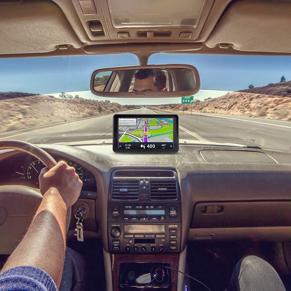 Lifetime Map Updates Sun Shade Car GPS 7 inch Sat-Nav Portable Navigation System for Cars On-Dash Mount Real Voice Turn-to-turn Alert Vehicle GPS Navigator
