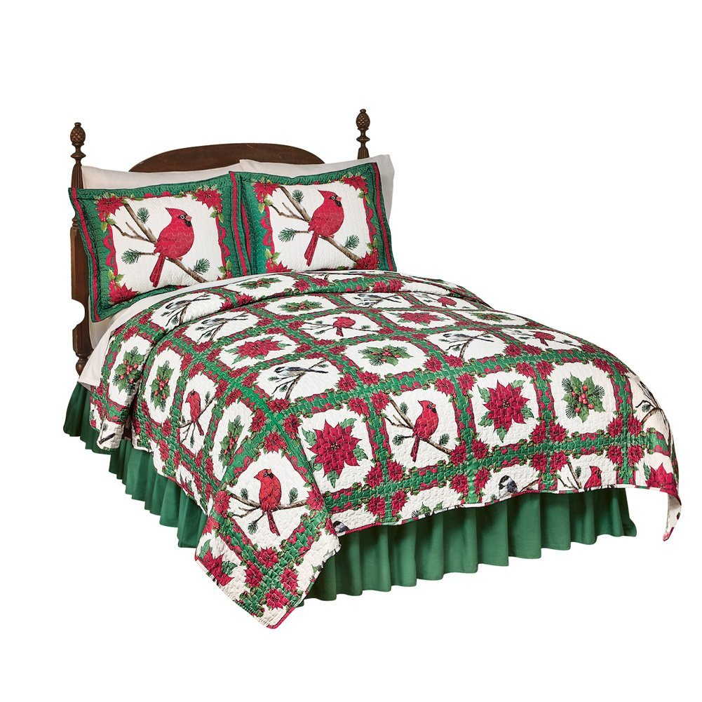 Poinsettia Quilt, King, Red And Green