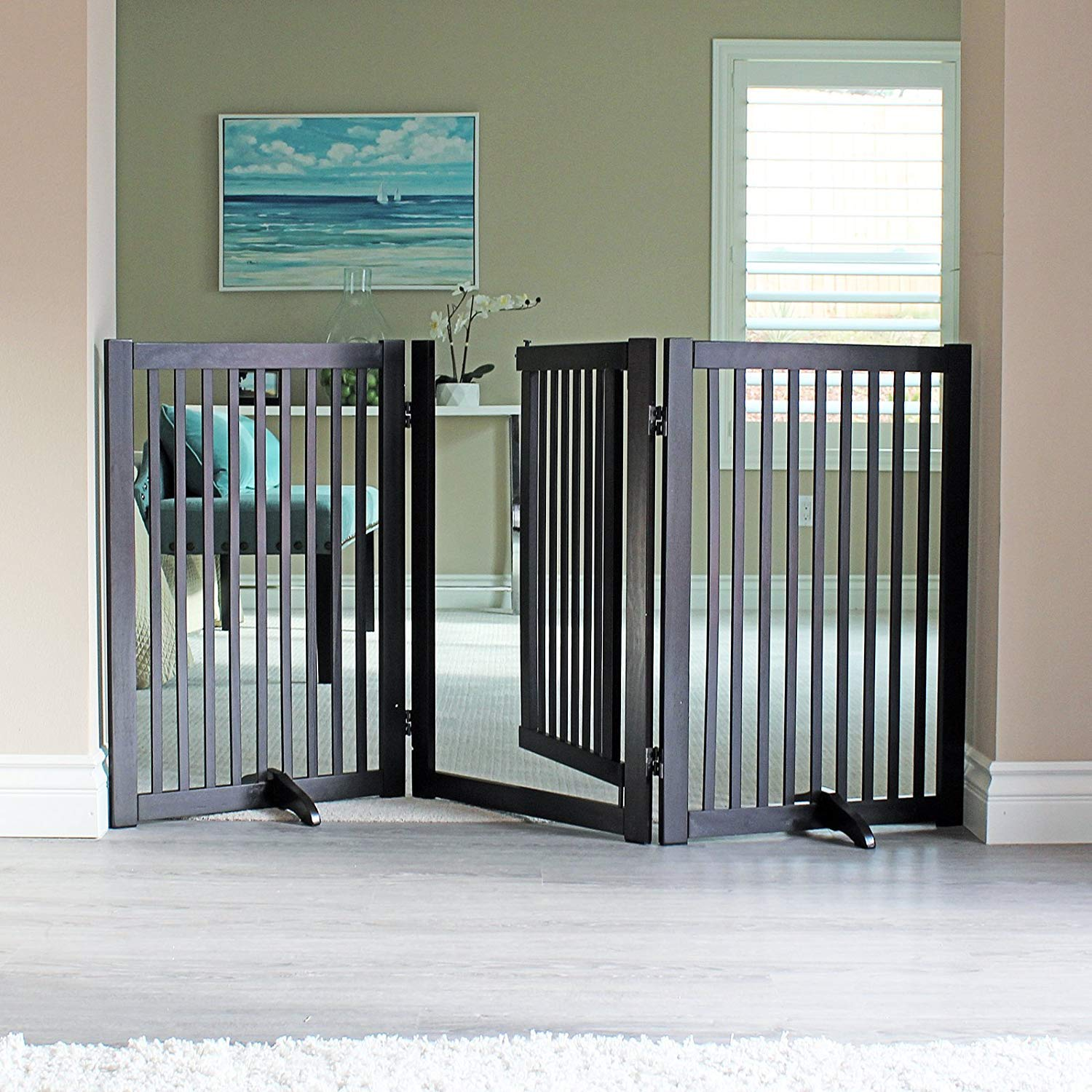 WELLAND Freestanding Wood Pet Gate with Walk Through Door Espresso, 66-Inch Width, 32-Inch Height (Set of Support Feet Included) by WELLAND (Image #2)