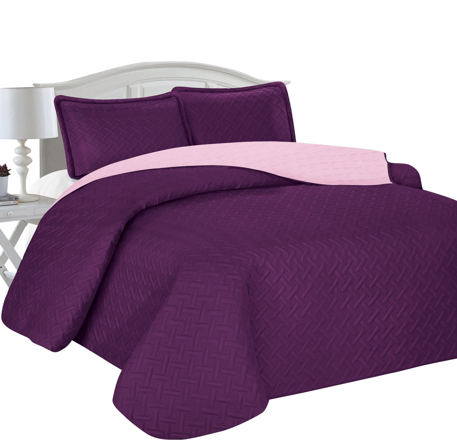 Home Sweet Home Victoria Design Reversible 3 PC Quilt Bedspread Sets (King, Purple/Lavender)