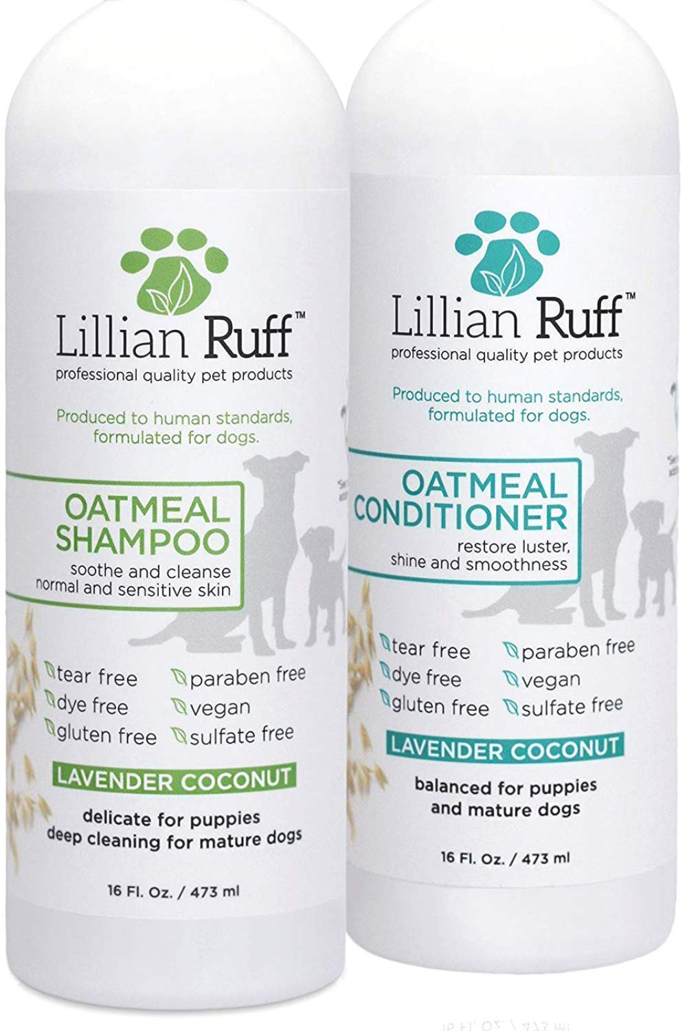 Lillian Ruff Dog Oatmeal Shampoo and Conditioner Set - Safe for Cats - Lavender Coconut Scent for Itchy Dry Skin with Aloe- Deodorize and Soothe - Gentle Cleanser for Normal to Sensitive Skin (16oz.) by Lillian Ruff