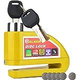 HMF 3510-17 Motorradschloss, Bremsscheibenschloss, Alarmfunktion, 110 db, 9 x 7 x 3,5 cm, gelb