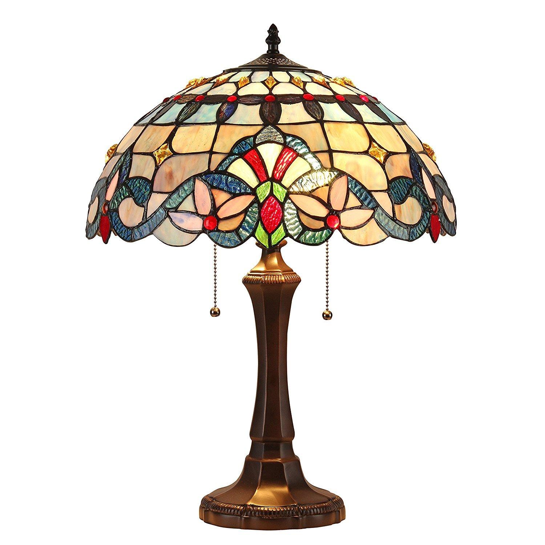 Chloe Lighting CH33381VB16-TL2  Grenville Tiffany-Style Victorian 2 Light Table Lamp 16-Inch Shade