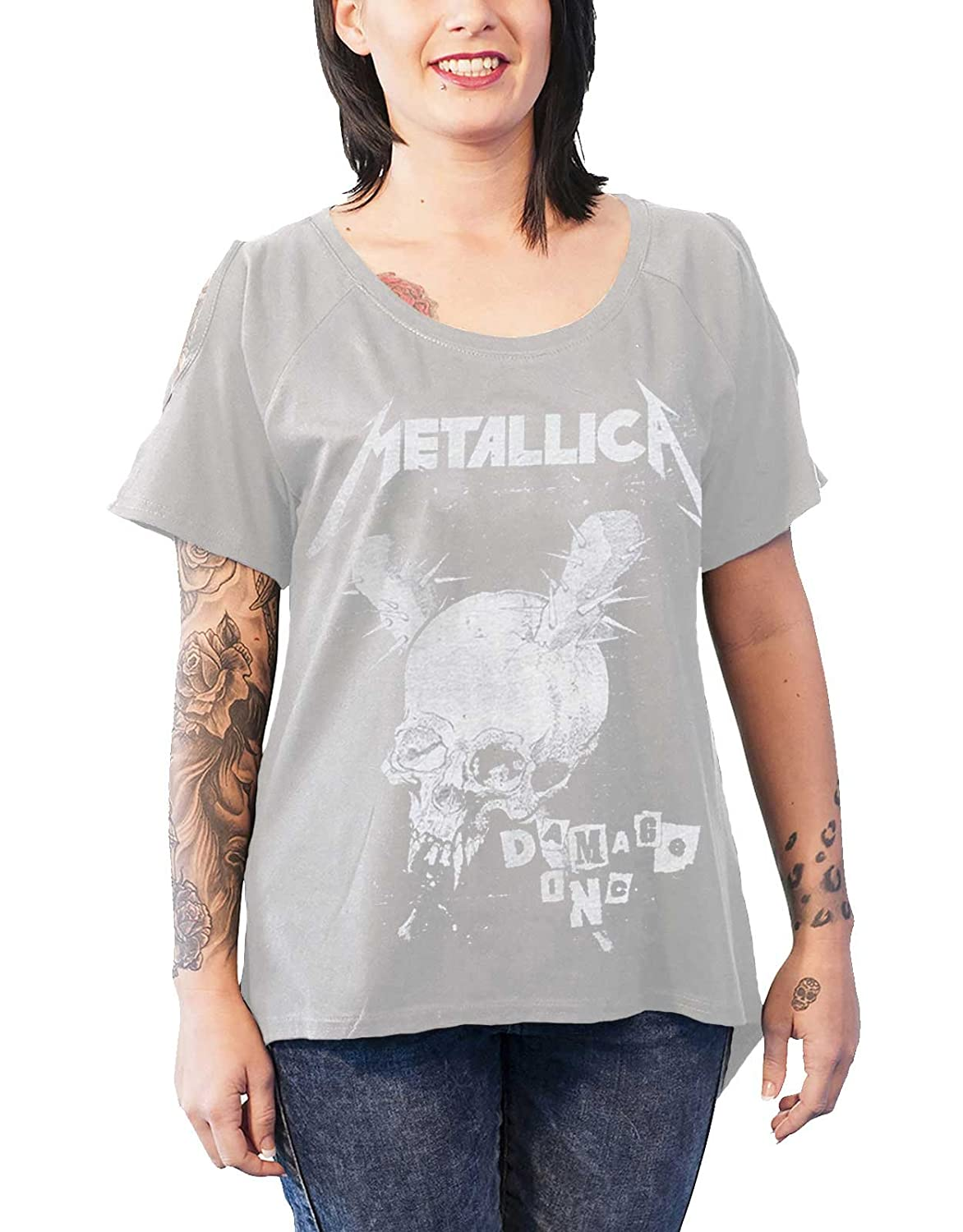 b6a6994e This Brand New Official Metallica T Shirt with a Distressed Damage Inc Band  Logo Design on a Womens Grey Cut Out Short Sleeve Crew Neck Skinny Fit T  Shirt ...