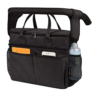 Momcozy Insulated Stroller Organizer, Baby Bottle Bag Breastmilk Cooler Parent Console Bag, Fits for All Stroller Like Uppababy, Baby Jogger, Britax, Bugaboo, BOB, Umbrella and Pet Stroller