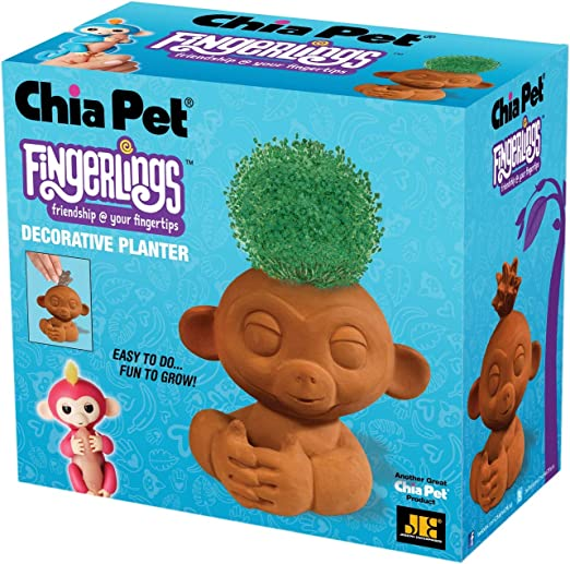Chia Pet Fingerlings Monkey Decorative Pottery Planter Easy To Do And Fun To Grow Novelty Gift Perfect For Any Occasion Amazon Ca Patio Lawn Garden