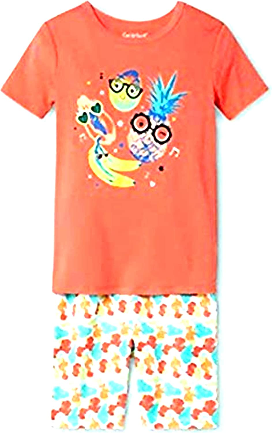 Girls Short Sleeve Fruits Printed Shirt and Shorts Set Size 6