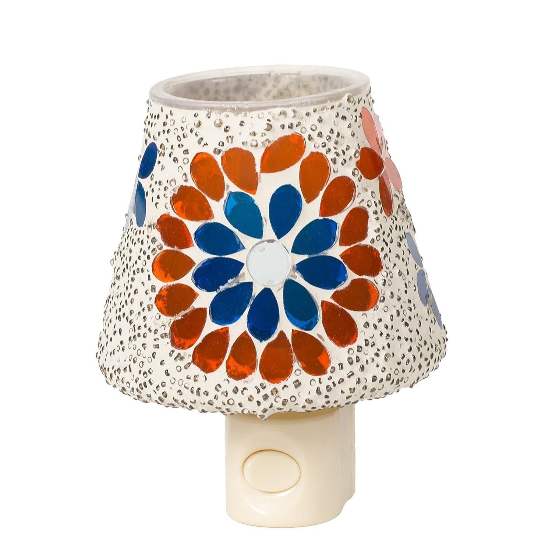 Crackle Miniかさ5 x 4ガラス電気壁プラグインモザイクNight Light 5 x 4 243 B079GB9G84 18188 Floral White Floral White