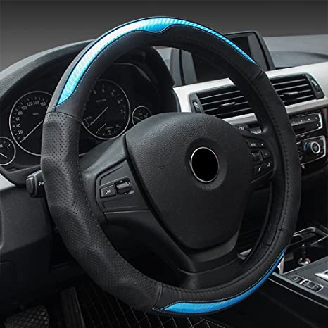 15 inch Breathable Anti-Slip Leather Protector ECLEAR Car Steering Wheel Covers Universal Fit 38cm Black