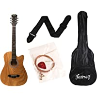 Juarez JRZ38C/ASH 6 Strings Acoustic Guitar 38 Inch Cutaway, Right Handed, Ash with Bag, Strings, Picks and Strap