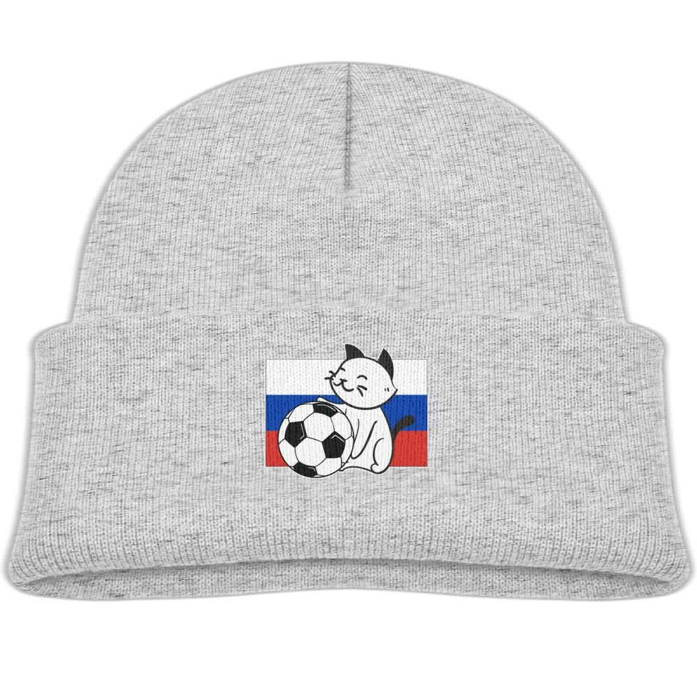 abf6b1e65e2ce2 Amazon.com: Beanie Cap Smiling Russia Cat and Soccer Soft Knit Hats Baby  Girls: Clothing